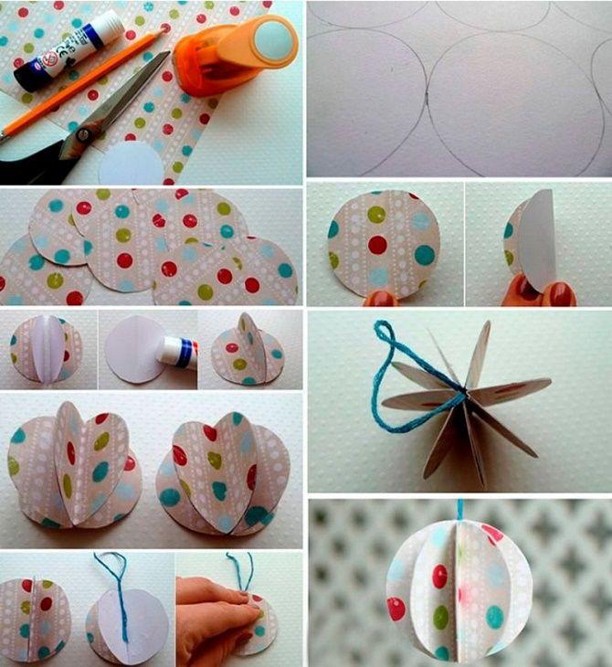 Красиві і незвичайні ялинкові іграшки з паперу – як зробити своїми руками 19