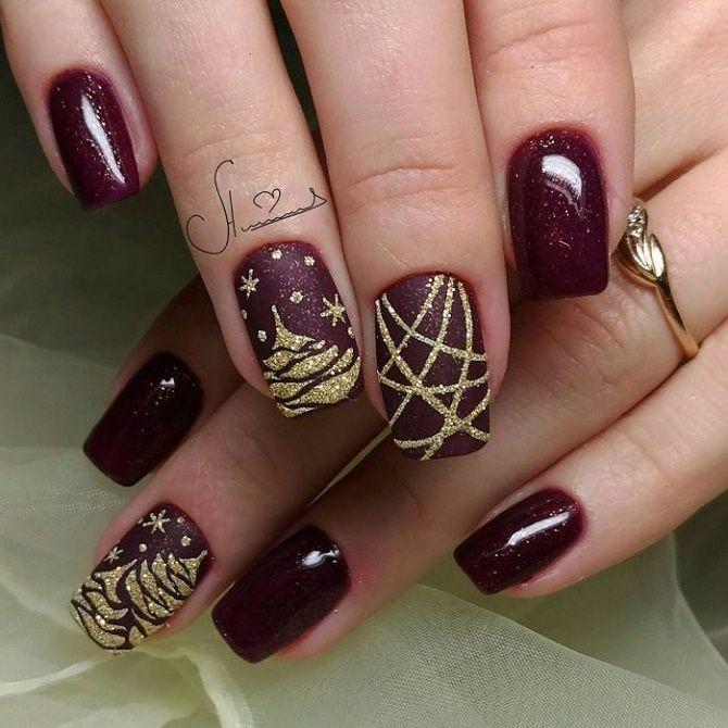 Святковий манікюр з ялинкою на Новий рік 2021: красиві варіанти дизайну нігтів 19