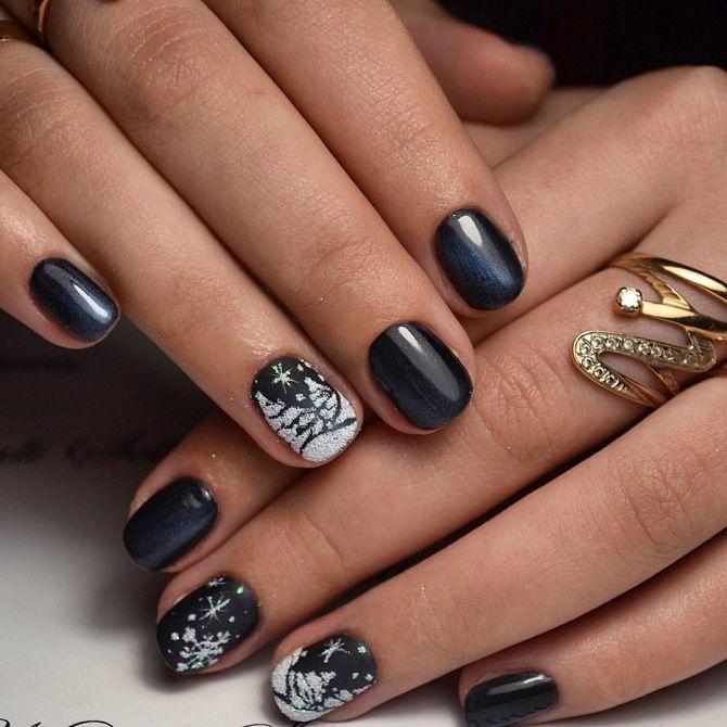 Святковий манікюр з ялинкою на Новий рік 2021: красиві варіанти дизайну нігтів 24