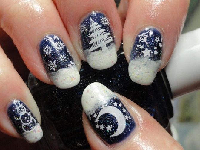 Святковий манікюр з ялинкою на Новий рік 2021: красиві варіанти дизайну нігтів 28