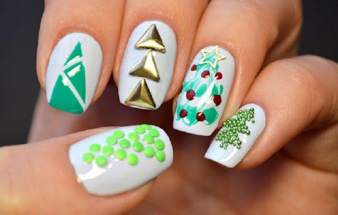 Святковий манікюр з ялинкою на Новий рік 2021: красиві варіанти дизайну нігтів 7