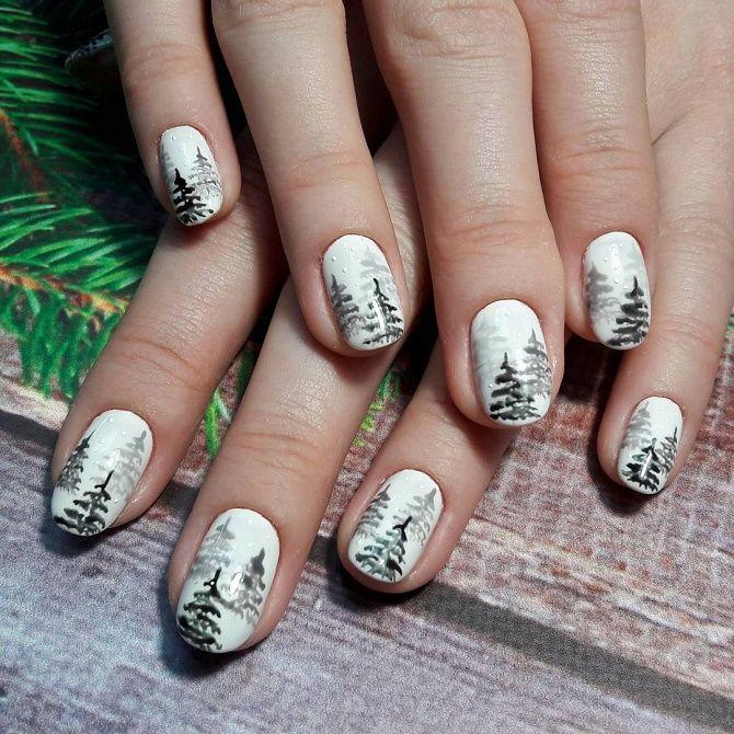 Святковий манікюр з ялинкою на Новий рік 2021: красиві варіанти дизайну нігтів 9