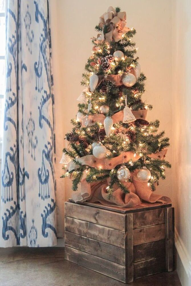 Рождественский декор: 40 сказочных идей украшения маленькой елки 34