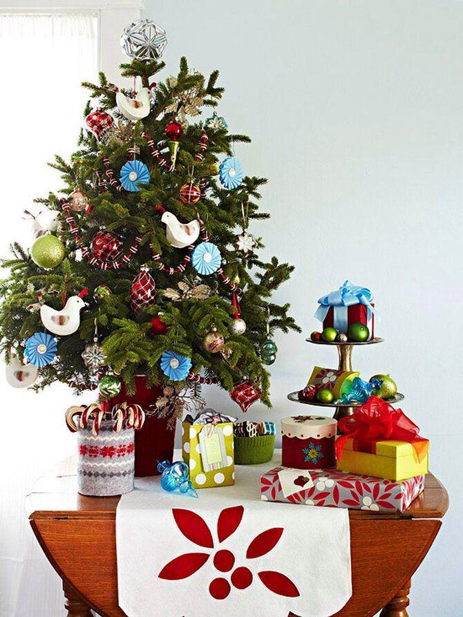Рождественский декор: 40 сказочных идей украшения маленькой елки 42