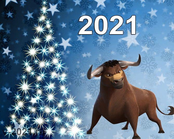 Чарівні новорічні картинки на 2021 рік Бика 19