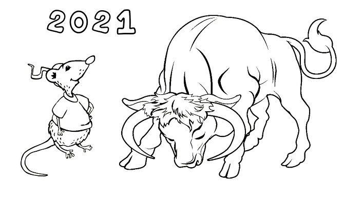 Чарівні новорічні картинки на 2021 рік Бика 39
