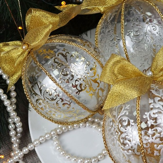 Красивый и необычный декор новогодних шаров – лучшие идеи с фото 25