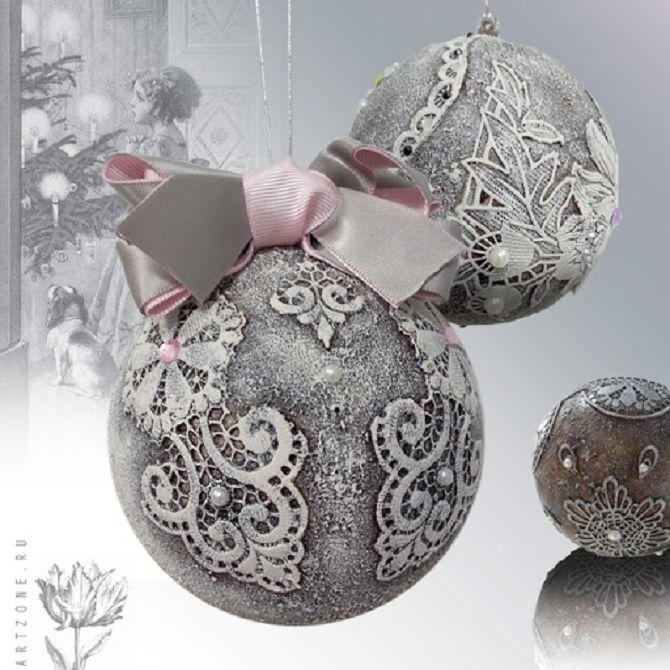 Красивый и необычный декор новогодних шаров – лучшие идеи с фото 26