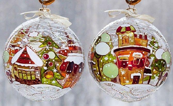 Красивый и необычный декор новогодних шаров – лучшие идеи с фото 32