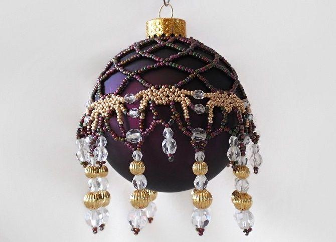 Красивый и необычный декор новогодних шаров – лучшие идеи с фото 8
