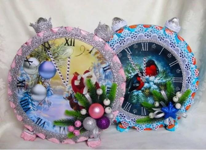 Поделка новогодние часы 10
