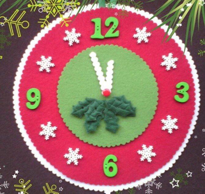 Поделка новогодние часы 15
