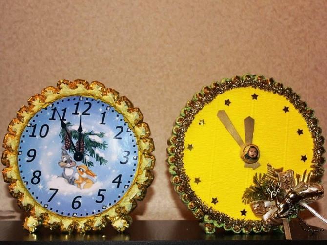 Поделка новогодние часы 9