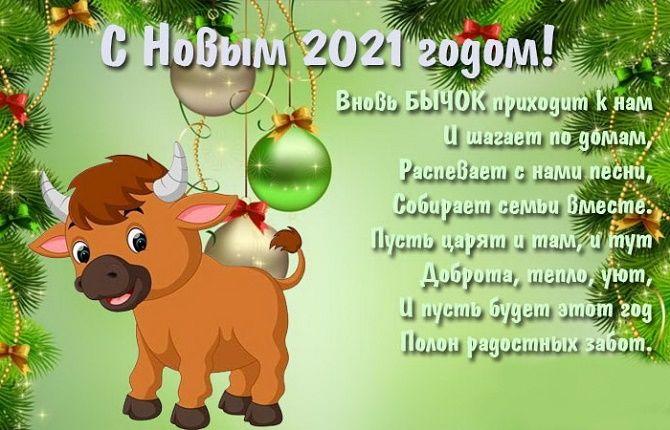 Чудесные поздравления с Новым годом 2021: открытки и картинки в год Быка 8
