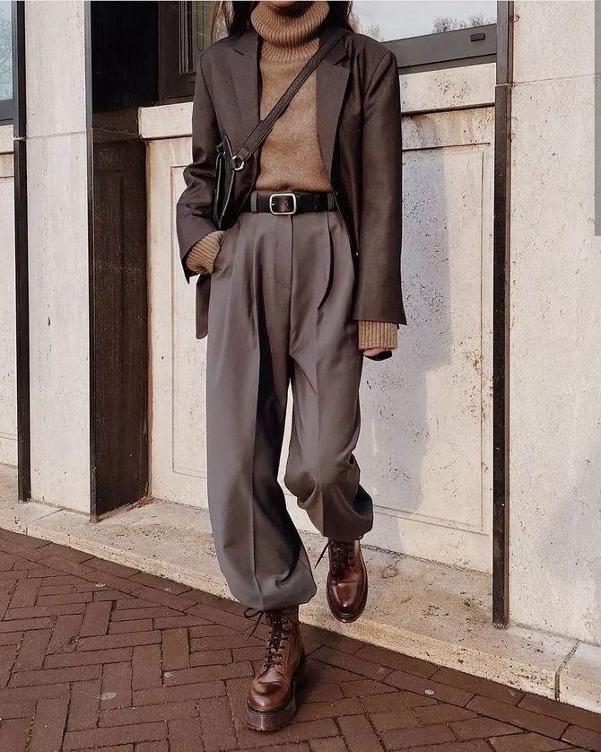 Шерстяные брюки — модный лук зимнего сезона 8