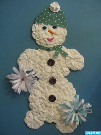 Как сделать снеговика из ватных дисков – лучшие новогодние поделки 11