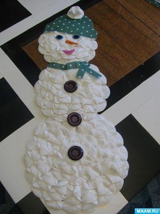 Как сделать снеговика из ватных дисков – лучшие новогодние поделки 12