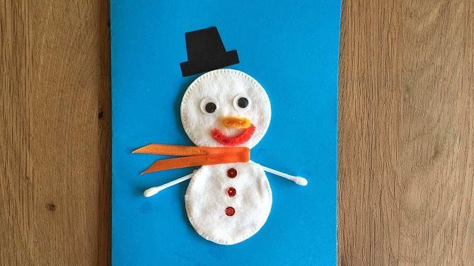 Как сделать снеговика из ватных дисков – лучшие новогодние поделки 19