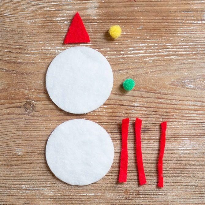 Как сделать снеговика из ватных дисков – лучшие новогодние поделки 3