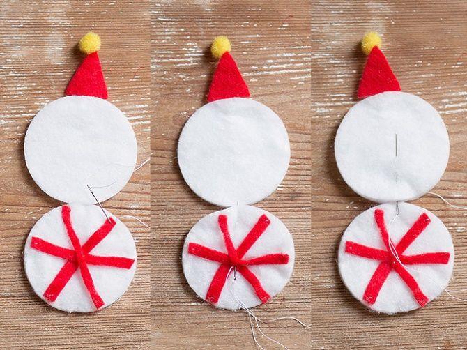 Как сделать снеговика из ватных дисков – лучшие новогодние поделки 5