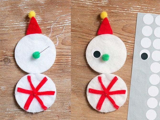 Как сделать снеговика из ватных дисков – лучшие новогодние поделки 6