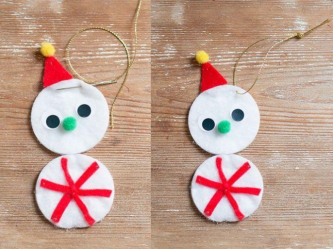 Как сделать снеговика из ватных дисков – лучшие новогодние поделки 7