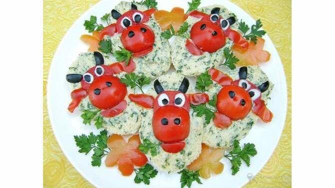 Украшение праздничных блюд: новогодняя символика 2021 на столе 10