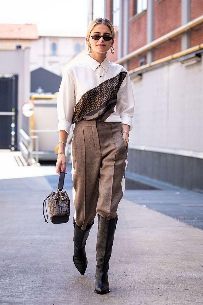 Высокие сапоги и костюмные брюки — как сочетать 12