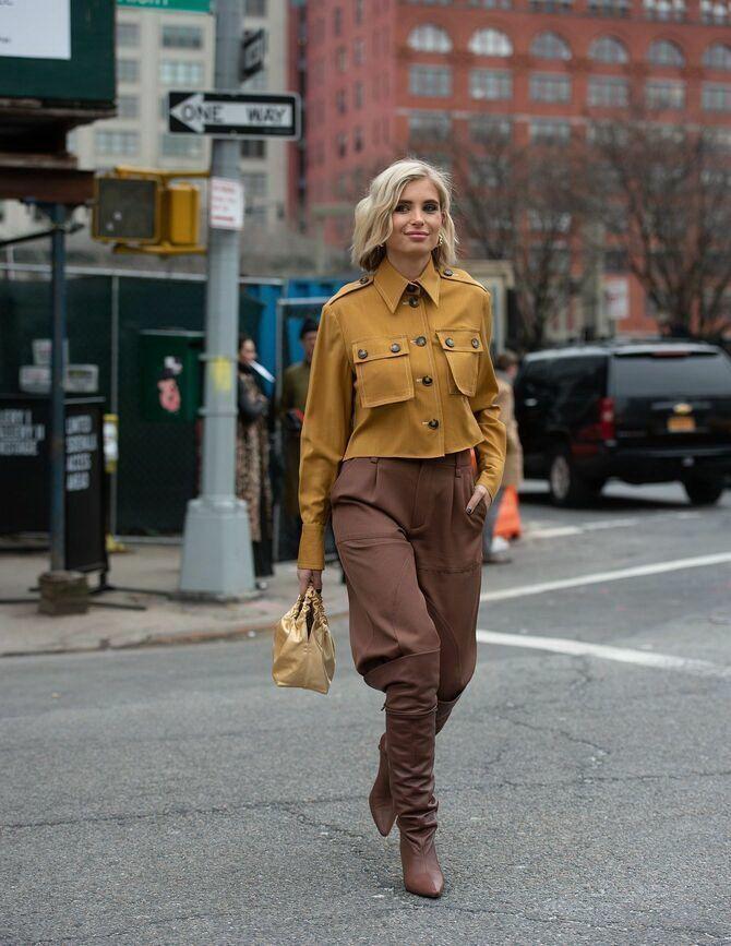 Высокие сапоги и костюмные брюки — как сочетать 13