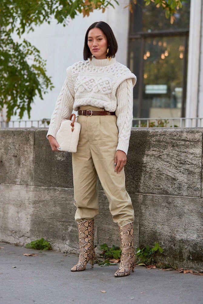 Высокие сапоги и костюмные брюки — как сочетать 14