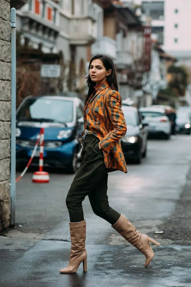 Высокие сапоги и костюмные брюки — как сочетать 18