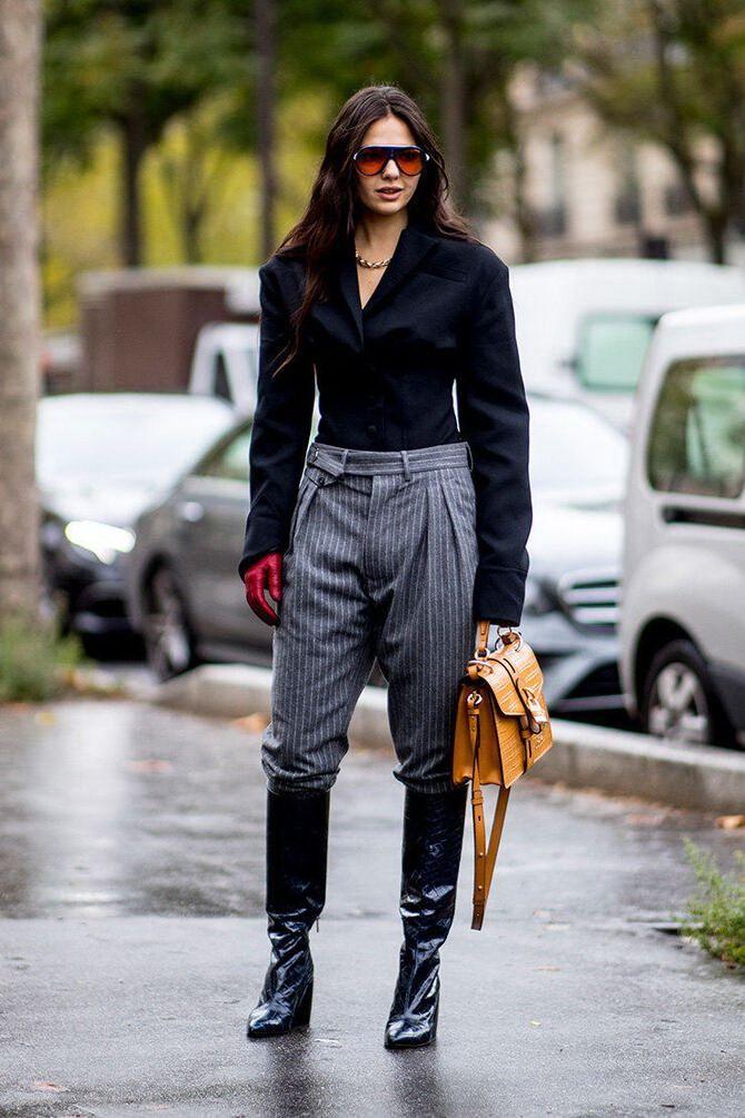 Высокие сапоги и костюмные брюки — как сочетать 19