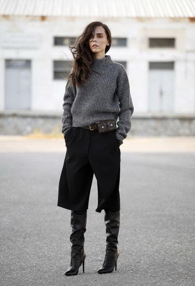 Высокие сапоги и костюмные брюки — как сочетать 23