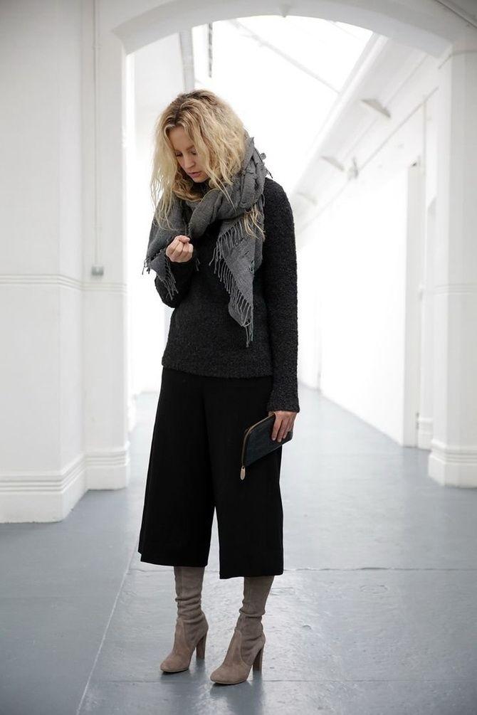 Высокие сапоги и костюмные брюки — как сочетать 24