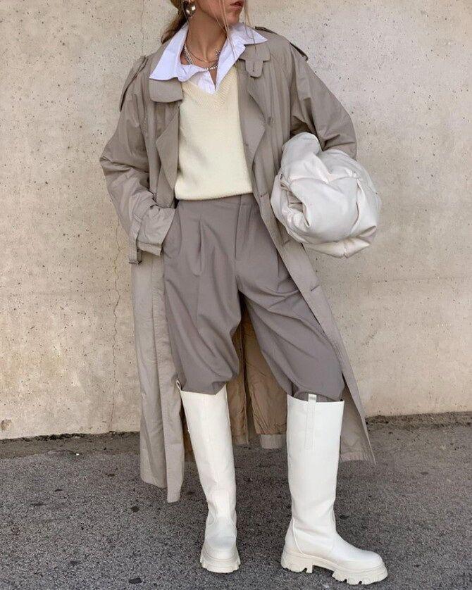 Высокие сапоги и костюмные брюки — как сочетать 5