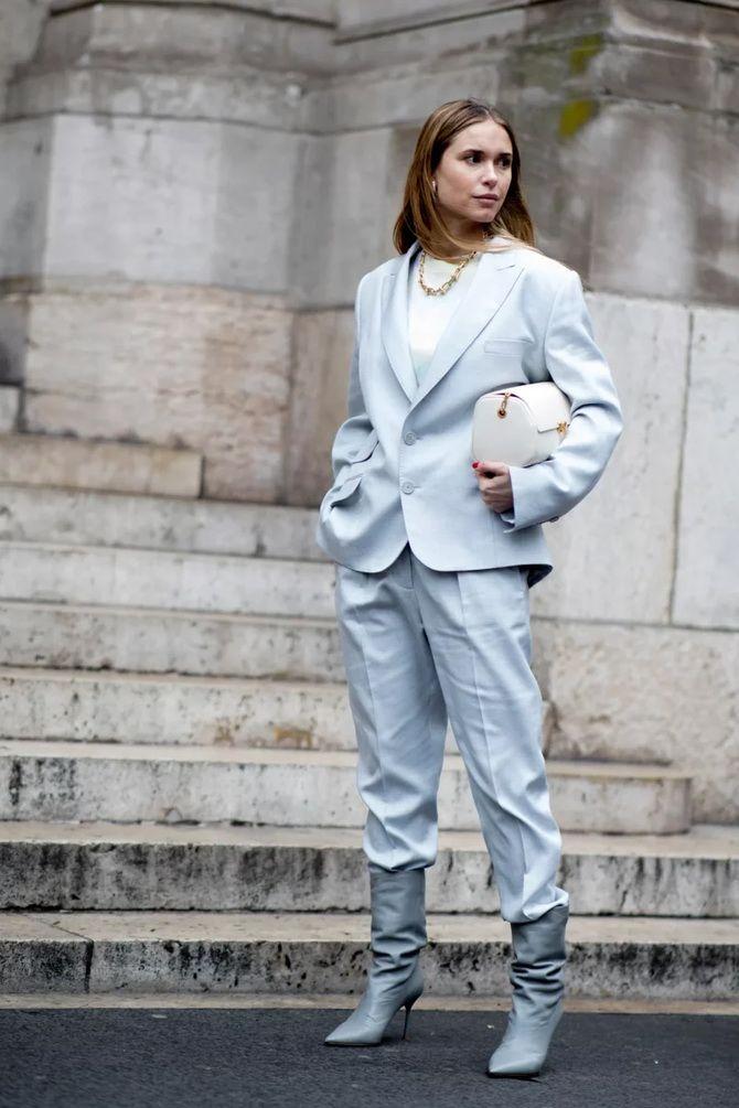 Высокие сапоги и костюмные брюки — как сочетать 8