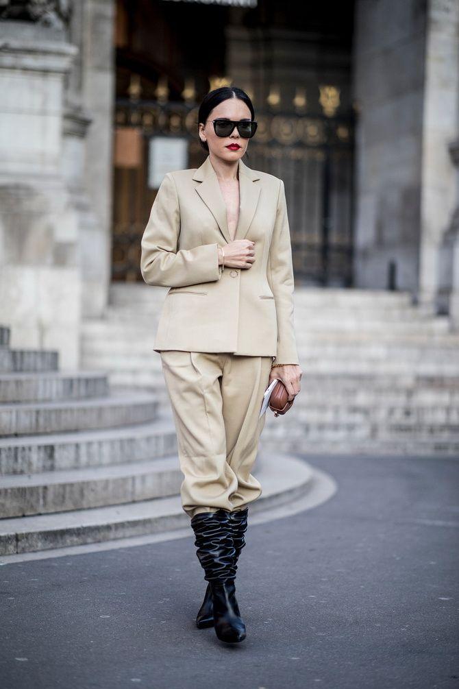 Высокие сапоги и костюмные брюки — как сочетать 9