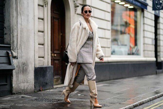 Высокие сапоги и костюмные брюки — как сочетать 10