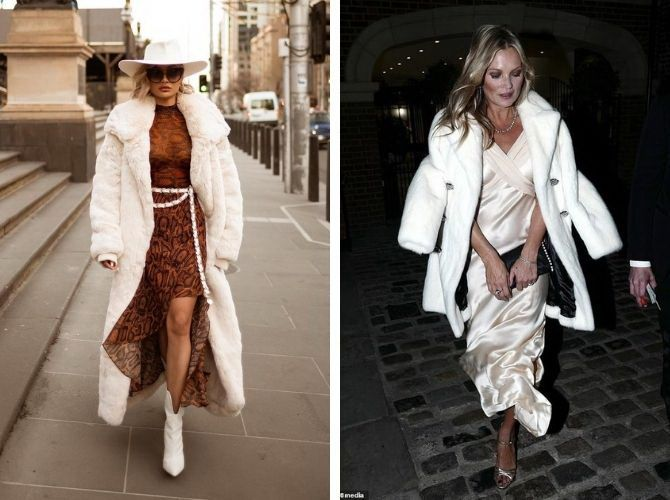 Як носити вечірні сукні взимку: луки з верхнім одягом 13