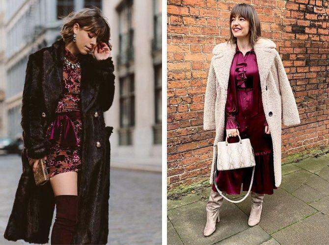 Як носити вечірні сукні взимку: луки з верхнім одягом 14