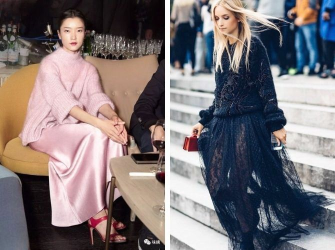Як носити вечірні сукні взимку: луки з верхнім одягом 16