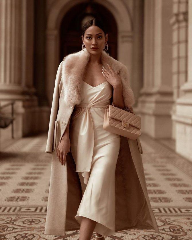Як носити вечірні сукні взимку: луки з верхнім одягом 6