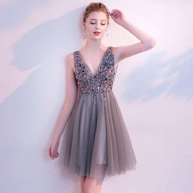 Сірі вечірні сукні на піку популярності – які фасони вибирати 14
