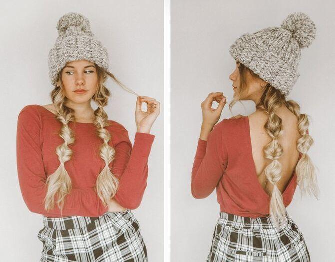 Удачные зимние прически под шапку: советы и идеи как избежать шляпных волос 11