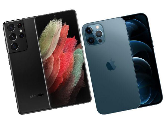 Samsung Galaxy S21 и Apple iPhone 12