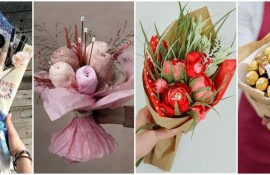 Букет на 8 березня своїми руками: креативні ідеї з паперу, з цукерок, з підручних матеріалів