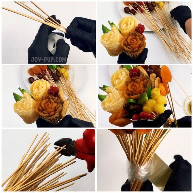 Букет із сухофруктів своїми руками: красива і смачна ідея на 8 березня 11