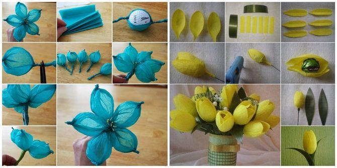 Букет на 8 березня своїми руками: креативні ідеї з паперу, з цукерок, з підручних матеріалів 13