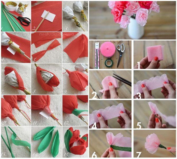 Букет на 8 березня своїми руками: креативні ідеї з паперу, з цукерок, з підручних матеріалів 14