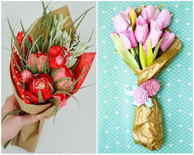 Букет на 8 березня своїми руками: креативні ідеї з паперу, з цукерок, з підручних матеріалів 15